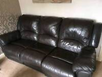 Three & Two Seater Brown Reclining Leather Sofas
