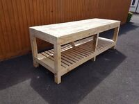 MASSIVE WOODEN WORK BENCH, 8ft WIDE, HEAVY DUTY, STRONG & STURDY, HAND MADE.