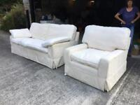 Two x 3 seater sofa's & chair