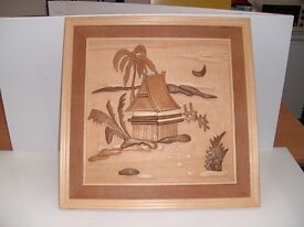 Wooden picture - house/hut