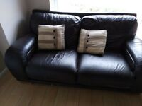 3seater and 2 seater brown leather sofas