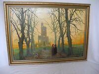 Oil painting by A. Black - Original Burns Monument in Kay Park