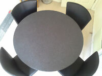 John Lewis modern black round 39inch pedestal table pedestal and base are crome four chairs