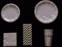 Tableware party pack. Colourful pink & gold paper cups, plates, napkins & straws. Birthday party