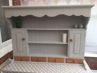 Vintage Solid Pine Country Kitchen Dresser Top Wall Shelves