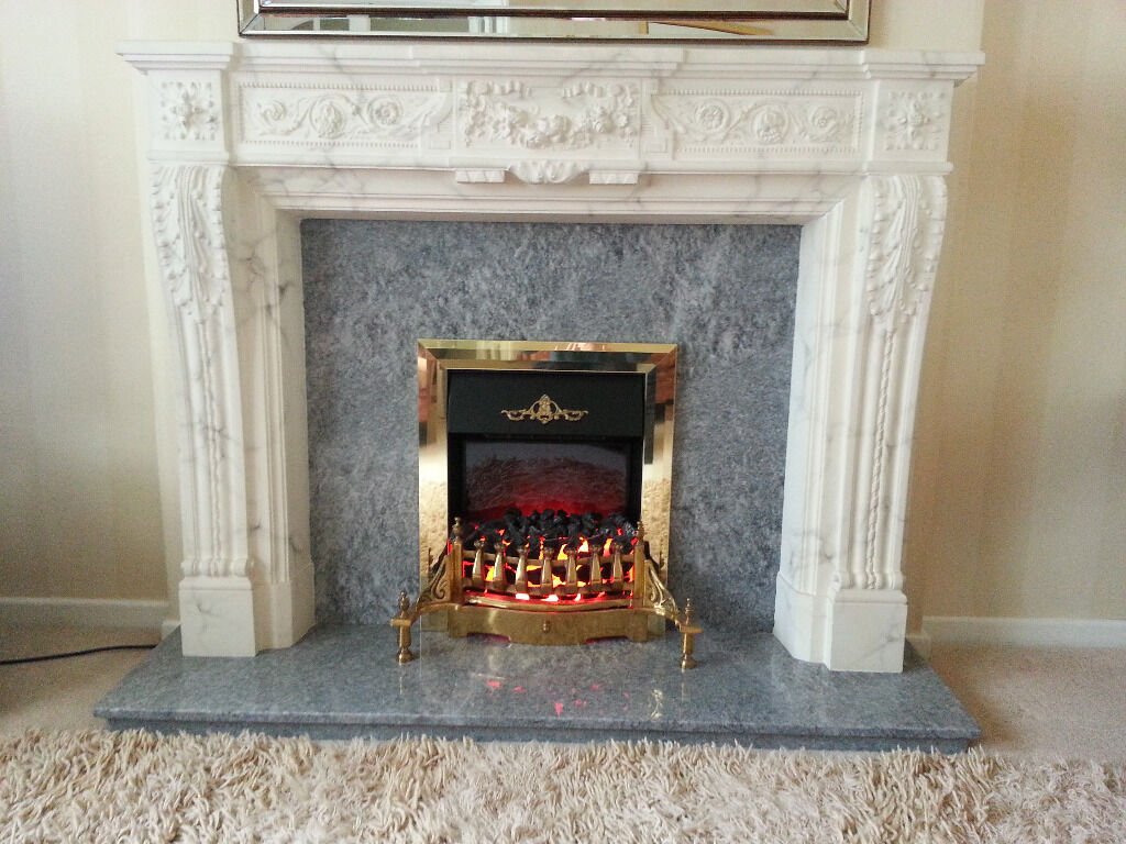 Louis Fire Surround With Grey Marble Inset And Hearth Electric Coal Effect