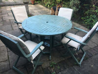 Solid wood folding garden table and chairs