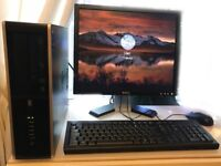 "HP Quad-Core Desktop PC - 4GB RAM, Win 10 Pro, 250GB HDD, DVD-RW, 19"" Dell Monitor & Wi-fi Dongle"