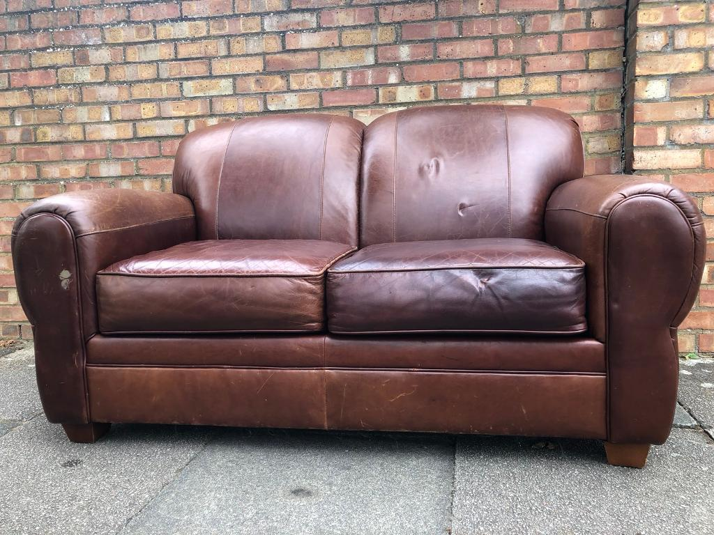 Vintage Art Deco Style Cigar Leather Sofa