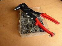 BLIND RIVET GUN AND 100s OF DIFFERENT SIZE RIVETS