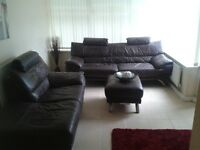 OFFERS** Brown leather 3 + 2seater sofa, chair and foot stool