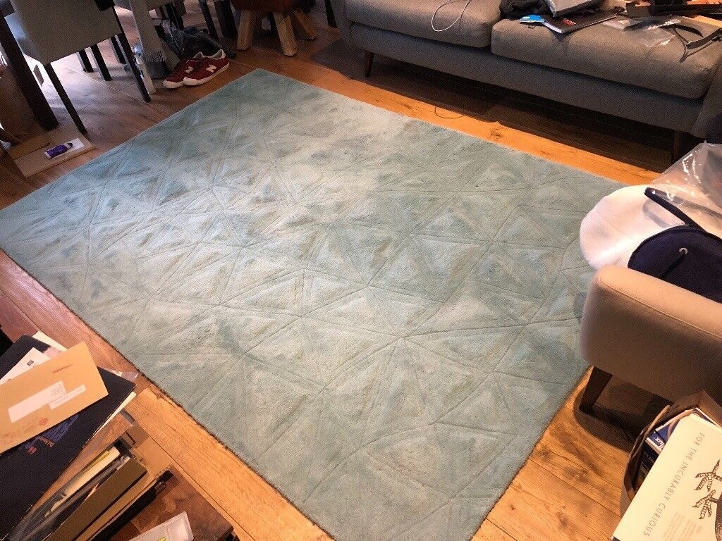 Tekari Geometric Pure Wool Rug In Teal From Made Clean Large 230x160cm In Hammersmith London Gumtree