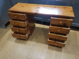 PINE DRESSING TABLE WITH 8 DRAWERS