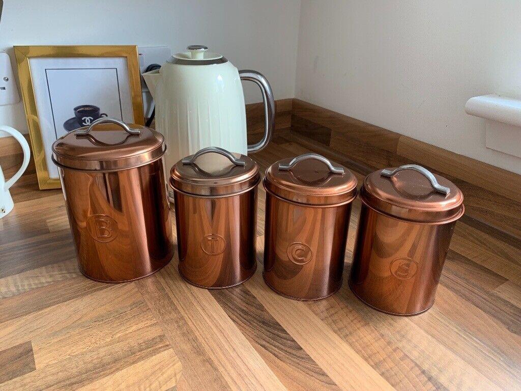 Rose Goldcopper Tea Coffee Sugar Biscuit Canisters Storage In Johnstone Renfrewshire Gumtree