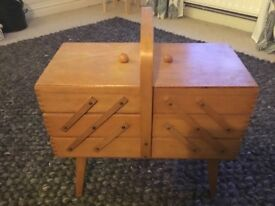 Vintage Cantilever sewing box on legs