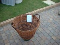 Large Log/Storage wicker basket 50 cm diameter.
