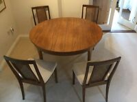 Vintage Teak round dining table and 4 chairs