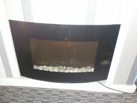 BLACK GLASS ELECTRIC WARM AIR FIRE .FLAME EFFECT