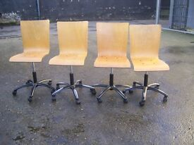 WOODEN GAS LIFT SWIVEL OFFICE CHAIR 4 AVAILABLE