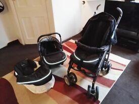 Silver Cross 3D Classic Black Denim Travel System Single Seat pushchair!