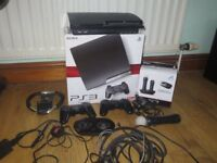 Playstation 3 Slim 120gb **Boxed** with Move, Guitar hero drumset, 30+ Games and lots more