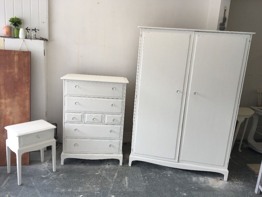 solid stag bedroom furniture finished in antique white