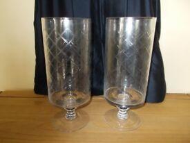 Pair of hurricane lantern vases