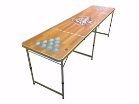 OFFICIAL SIZE 8' FOOT FOLDING BEER PONG 4 SECTION TABLE PARTY GAMES - COLOUR