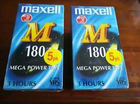 10 x Sealed Maxwell M 180 Blank VHS Tapes 180m Mega Power Tape E-180 PAL SECAM
