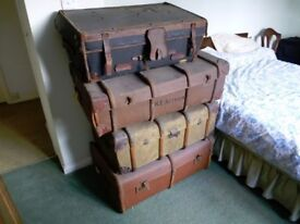 5 Vintage luggage trunks - REDUCED PRICE