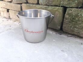 Budweiser Beer Ice Bucket Drinks Cooler Chiller Lager Metal Stainless Steel BBQ Bar Table Lager
