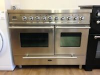 Brittania - STAINLESS STEEL Silver 100cm, Ceramic, Electric Fan Assisted RANGE COOKER