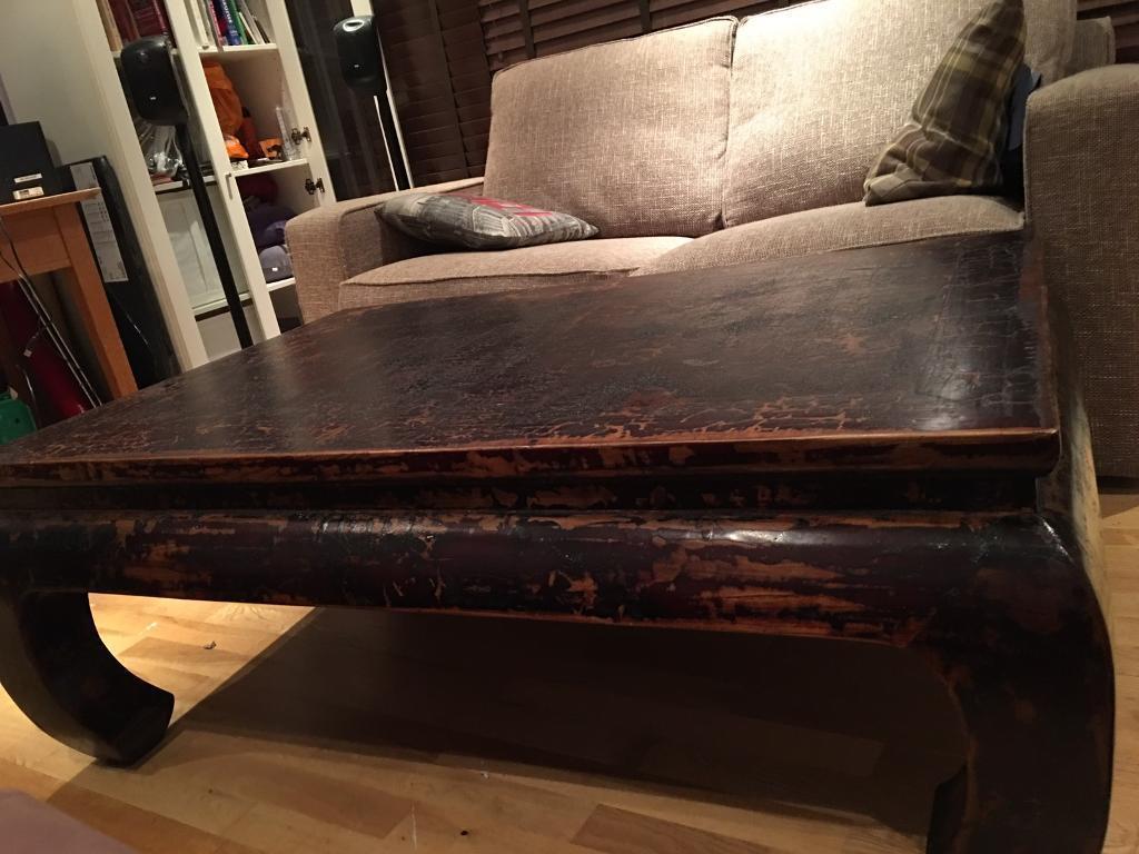 140cm Rustic Recycled Teak Rectangular Opium Coffee Table Antique