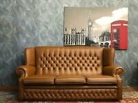AMAZING VINTAGE CHESTERFIELD QUEEN ANNE STUDDED TAN REAL LEATHER 3 SEATER SOFA