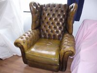 VINTAGE 1 OWNER HARRODS CHESTERFIELD LEATHER WING BACK CLUB ARM CHAIR FIRESIDE GOLDEN BROWN / GREEN