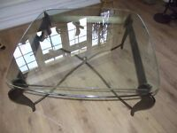 Large glass square table