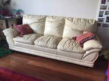 Cream Leather 3 Seat Sofa Mount Hawthorn Vincent Area Preview