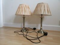 Pair bronze coloured table Lamps with gold shades