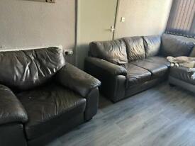 Brown corner sofa and chair