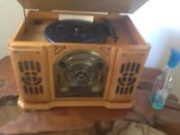 Retro record player and tape and radio