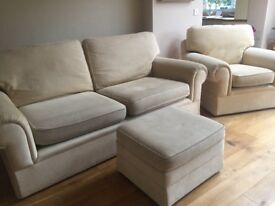 M&S cream suit. 2 large settees, armchair and footstool