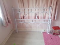 White metal double frame with crystal detail woth mattress