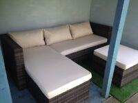 Garden 3 Seater Rattan Effect mini corner sofa