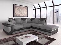 **7-DAY MONEY BACK GUARANTEE!** - Dino Italian Fabric Corner Sofa Suite - SAME/NEXT DAY DELIVERY!