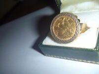 1909 Edward VII Half Sovereign Pendant Ring