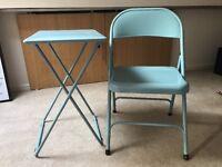 Habitat folding metal blue table and chair set X 2