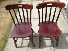 PAIR OF SOLID MAHOGANY CHAIRS