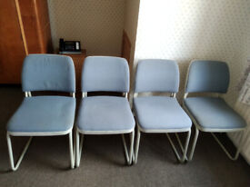 4 x Meeting Room Chairs, Very Strong and Sturdy, Slate-Blue Upholstery, Cream Steel Frames