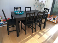Black Ikea Dining table & 6 Chairs