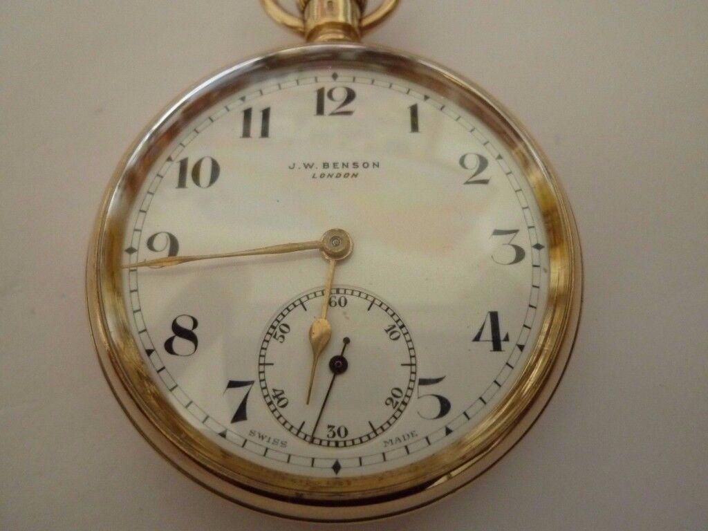 9 carat gold J.W Benson of London pocket watch